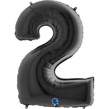 Pallone mylar nero 100 cm numero 2