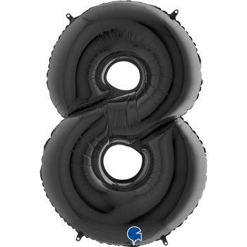 Pallone mylar nero 100 cm numero 7
