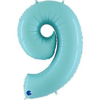 Pallone mylar azzurro pastello 100 cm numero 9