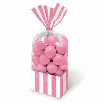 Sacchetti per confetti a Righe Rosa   27.3 x 8.3 cm - 10 pz