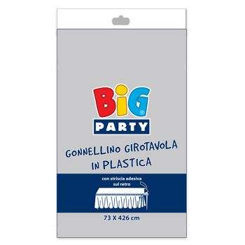 Gonnellino Girotavola in Plastica 73 x 423 cm Argento