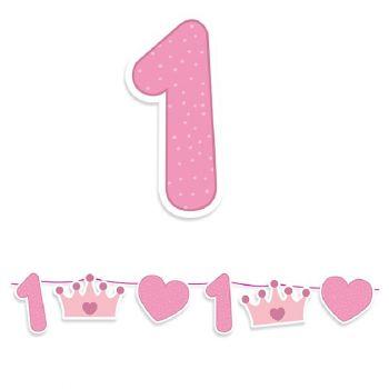 Kit Festone maxi Buon Primo Compleanno Rosa 3,6 mt