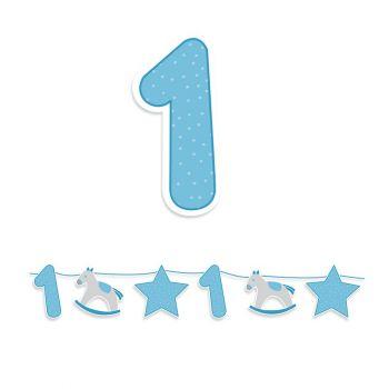 Kit Festone Maxi Buon Primo Compleanno Celeste 4 mt