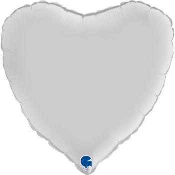 Pallone a forma di cuore 46 cm bianco satinato