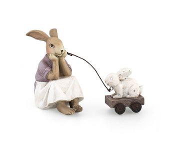 Coniglietta con carretto 10 cm