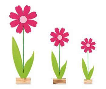 Kit 3 fiori in pannolenci fuxia grandi