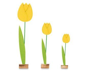 Kit 3 tulipani in pannolenci gialli grandi