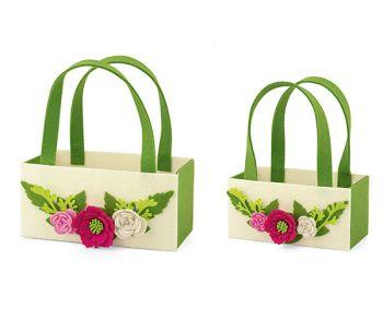 Kit 2 borsette con manici con fiori rosa e bianchi