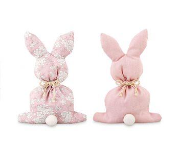 Sacchetto coniglio rosa con fiori