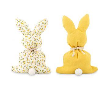 Sacchetto coniglio giallo o con fiori  24.5 cm