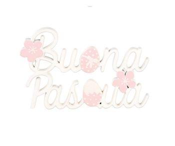 Decorazione Buona Pasqua bianco e rosa 9 x 6 cm