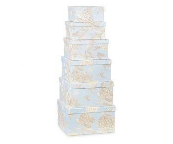 Kit 6 scatole celesti con fiori varie misure