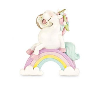 Unicorno bianco su arcobaleno 12.5 x 14 cm