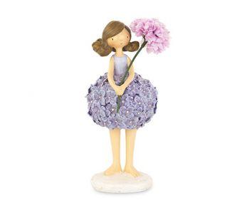Bambina con vestito glicine con fiori 190 mm