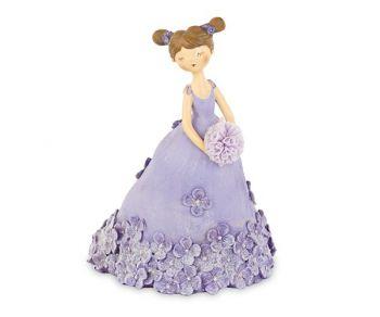 Dama con vestito glicine e fiori 16 cm