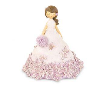 Dama con vestito rosa e fiori 15.5 cm