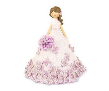 Dama con vestito rosa e fiori 23 cm