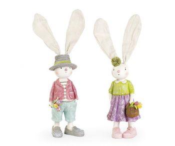 Coniglietti con fiori assortiti 310 mm