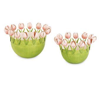 Kit 2 contenitori in metallo con tulipani rosa