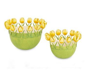 Kit 2 contenitori in metallo con tulipani gialli