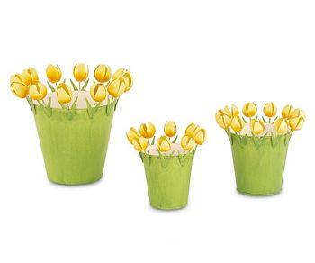 Kit 3 contenitori con tulipani gialli