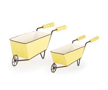 Kit 2 carriole in metallo giallo