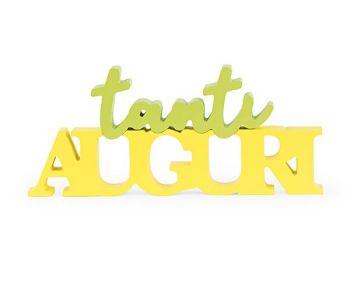 """Scritta """"Tanti auguri"""" giallo verde 355 x 155 mm"""