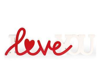 """Scritta """" I Love You """" bianca / rossa 47.5 x 15 cm"""