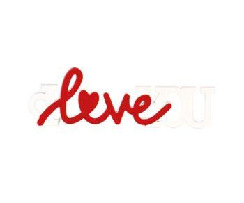 """Deco """" I Love You """" bianca / rossa 7 x 2 cm"""