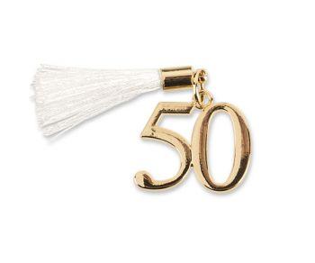 Deco 50 dorato con nappa bianca