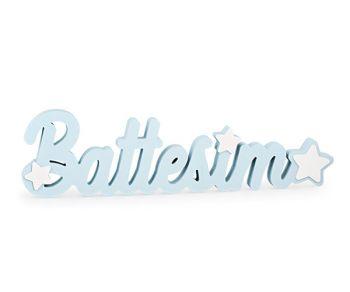 Scritta battesimo legno azzurra 55 cm
