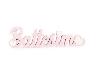 Scritta battesimo legno rosa 55 cm