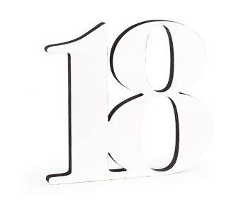 Numero 18 in legno bianco glitter nero 33 cm