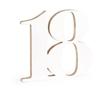 Numero 18 in legno bianco glitter champagne 33 cm