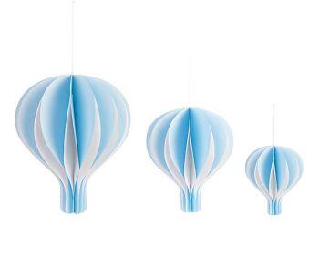 Kit 3 mongolfiere azzurre con base in legno