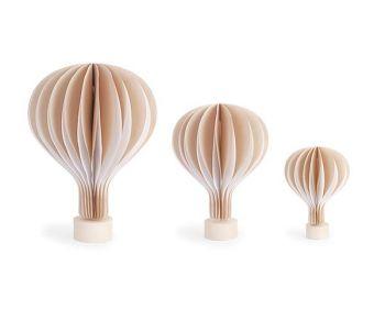 Kit 3 mongolfiere beige con base in legno