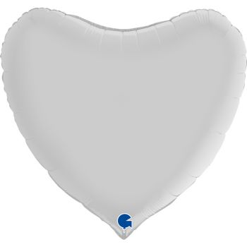 Pallone a forma di cuore 91 cm bianco satinato