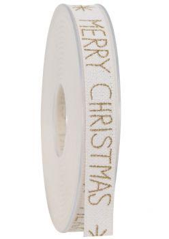 """Nastro Da Vinci """" Desideri di Natale """" 15 mm bianco e oro"""