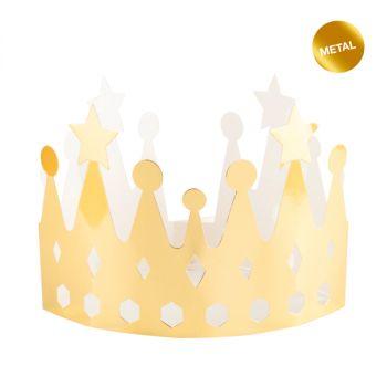 Corona in cartone Re e Regina Oro Metal