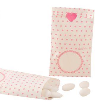 10  Sacchetti in carta pois rosa 8 x 14 cm