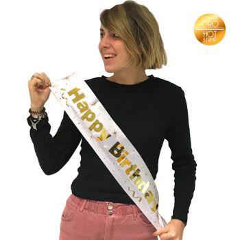 "Fascia ""Happy Birthday"" bianca e oro metal 200 cm"