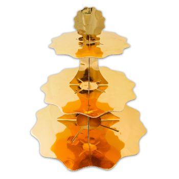 Alzatina in cartoncino 3 piani oro metal
