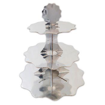 Alzatina in cartoncino 3 piani argento metal