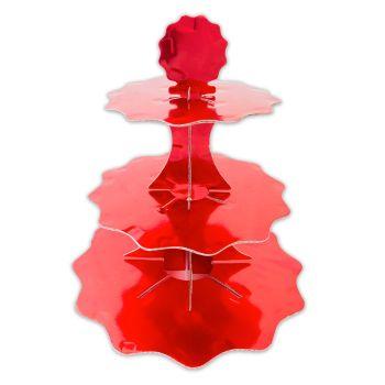 Alzatina in cartoncino 3 piani rosso metal