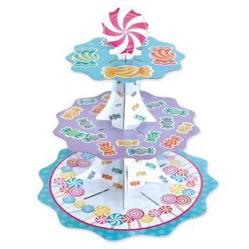 Alzatina in cartoncino 3 piani tema candy