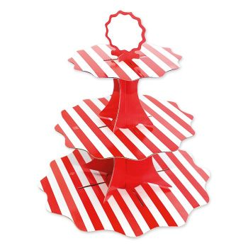 Alzatina in cartoncino 3 piani tema righe rosso