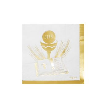 Tovaglioli Prima Comunione Gold 33 x 33 cm - 20 pz