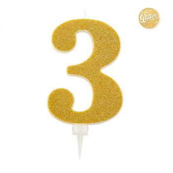 Candelina Glitter Oro N 3