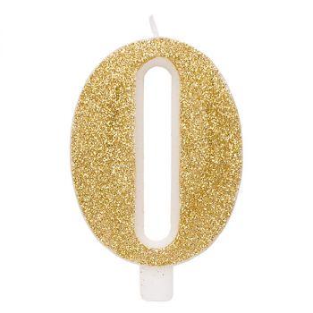 Candelina per torta oro glitter numero 0