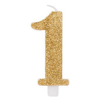 Candelina per torta oro glitter numero 1